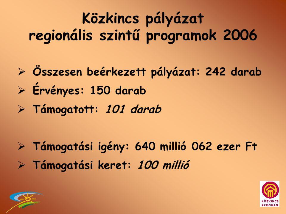 Közkincs pályázat regionális szintű programok 2005  Összesen beérkezett pályázat: 305 darab  Érvényes: 271 darab  Támogatott: 217 darab  Támogatási igény: 540 millió 207 ezer Ft  Támogatási keret: 170 millió 500 ezer Ft