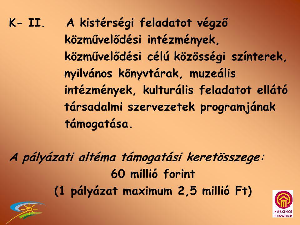 K-I. Kistérségi Közkincs-kerekasztal létrehozása, működésének támogatása A pályázati altéma támogatási keretösszege: 25 millió forint (1 pályázat maxi