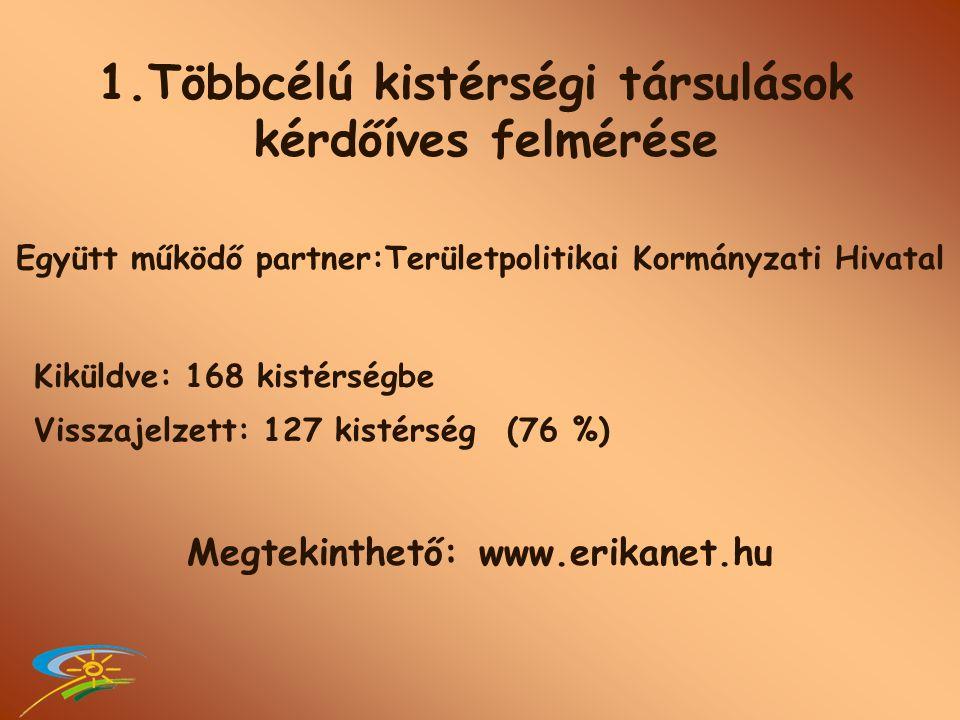 Kiküldve: 168 kistérségbe Visszajelzett: 127 kistérség (76 %) Megtekinthető: www.erikanet.hu 1.Többcélú kistérségi társulások kérdőíves felmérése Együtt működő partner:Területpolitikai Kormányzati Hivatal