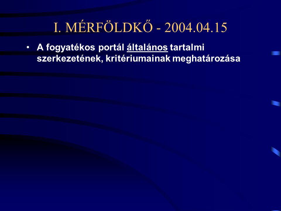 I. MÉRFÖLDKŐ - 2004.04.15 •A fogyatékos portál általános tartalmi szerkezetének, kritériumainak meghatározása