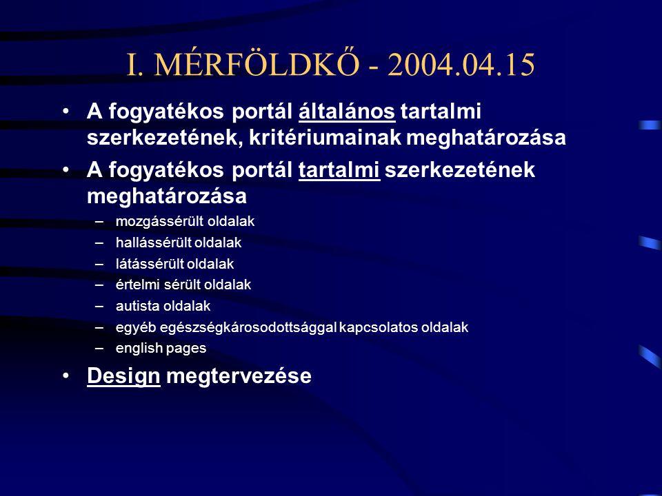 I. MÉRFÖLDKŐ - 2004.04.15 •A fogyatékos portál általános tartalmi szerkezetének, kritériumainak meghatározása •A fogyatékos portál tartalmi szerkezeté