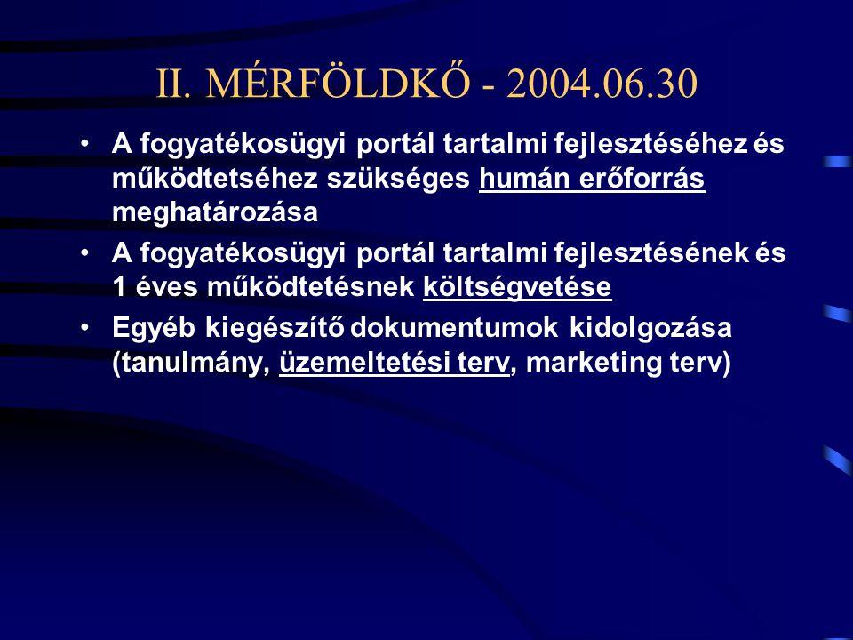 II. MÉRFÖLDKŐ - 2004.06.30 •A fogyatékosügyi portál tartalmi fejlesztéséhez és működtetséhez szükséges humán erőforrás meghatározása •A fogyatékosügyi