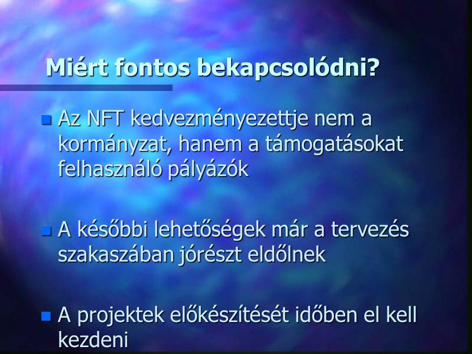 Az NFT készítése során kiemelt jelentőségű a PARTNERSÉG n EU követelménye n Az NFT csak akkor rendelkezik kellő mozgósító erővel, ha minden fontos társadalmi - gazdasági csoport egyetértését bírja n Széleskörű társadalmi egyeztetés, nyilvánosság n Régiók, szociális partnerek, üzleti és civil szféra bevonása