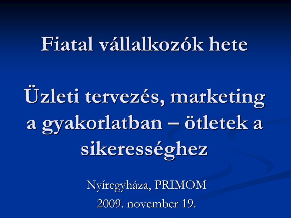 Fiatal vállalkozók hete Üzleti tervezés, marketing a gyakorlatban – ötletek a sikerességhez Nyíregyháza, PRIMOM 2009. november 19.