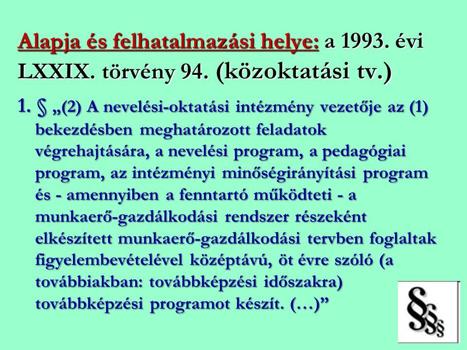 """Alapja és felhatalmazási helye: a 1993. évi LXXIX. törvény 94. (közoktatási tv.) 1. § """"(2) A nevelési-oktatási intézmény vezetője az (1) bekezdésben m"""