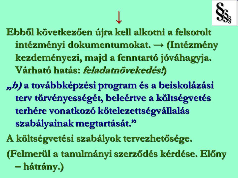 ↓ Ebből következően újra kell alkotni a felsorolt intézményi dokumentumokat. → (Intézmény kezdeményezi, majd a fenntartó jóváhagyja. Várható hatás: fe