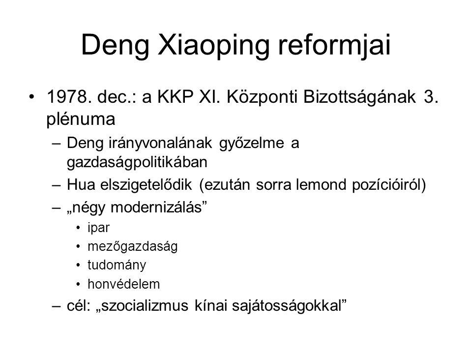 Deng Xiaoping reformjai •1978. dec.: a KKP XI. Központi Bizottságának 3. plénuma –Deng irányvonalának győzelme a gazdaságpolitikában –Hua elszigetelőd
