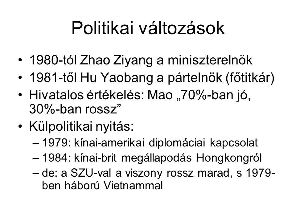 """Politikai változások •1980-tól Zhao Ziyang a miniszterelnök •1981-től Hu Yaobang a pártelnök (főtitkár) •Hivatalos értékelés: Mao """"70%-ban jó, 30%-ban"""