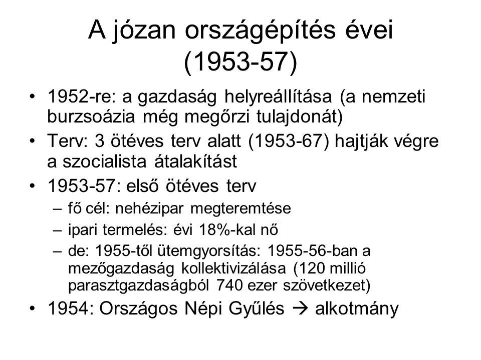 A józan országépítés évei (1953-57) •1952-re: a gazdaság helyreállítása (a nemzeti burzsoázia még megőrzi tulajdonát) •Terv: 3 ötéves terv alatt (1953