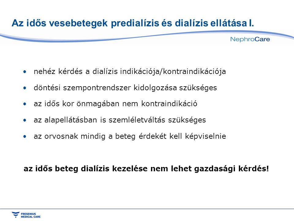 Az idős vesebetegek predialízis és dialízis ellátása I. •nehéz kérdés a dialízis indikációja/kontraindikációja •döntési szempontrendszer kidolgozása s