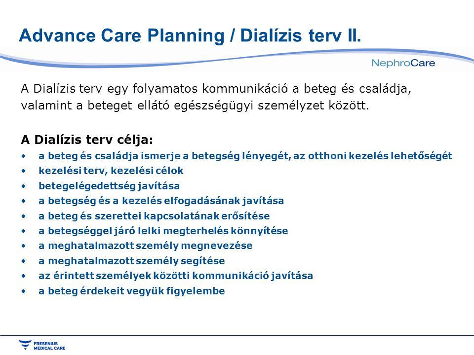 Advance Care Planning / Dialízis terv II. A Dialízis terv egy folyamatos kommunikáció a beteg és családja, valamint a beteget ellátó egészségügyi szem