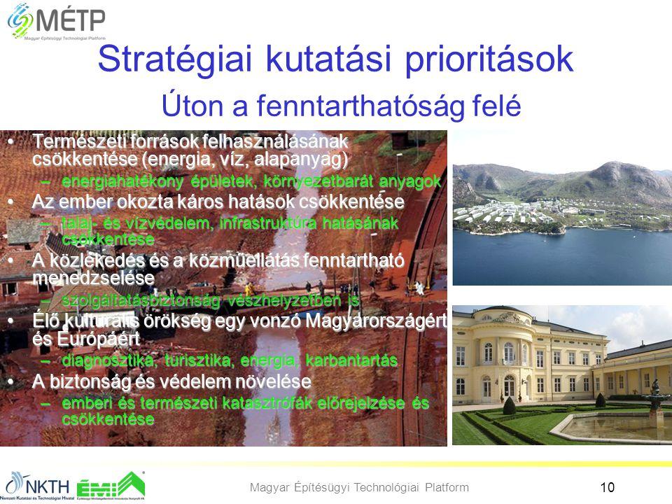 Magyar Építésügyi Technológiai Platform 10 Stratégiai kutatási prioritások Úton a fenntarthatóság felé •Természeti források felhasználásának csökkenté