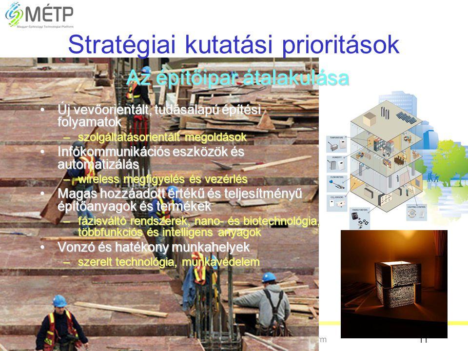 Magyar Építésügyi Technológiai Platform 11 Az építőipar átalakulása Stratégiai kutatási prioritások Az építőipar átalakulása •Új vevőorientált, tudása