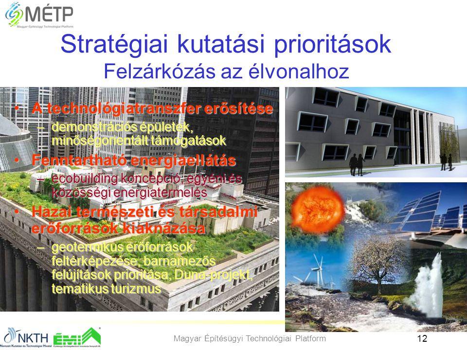 Magyar Építésügyi Technológiai Platform 12 Stratégiai kutatási prioritások Felzárkózás az élvonalhoz •A technológiatranszfer erősítése –demonstrációs