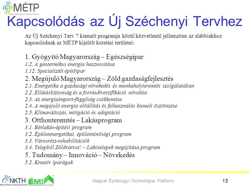 Magyar Építésügyi Technológiai Platform 13 Kapcsolódás az Új Széchenyi Tervhez Az Új Széchenyi Terv 7 kiemelt programja közül közvetlenül jellemzően a