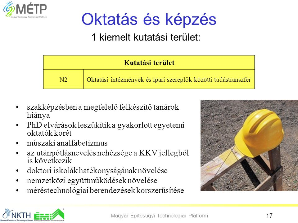 Magyar Építésügyi Technológiai Platform 17 Oktatás és képzés •szakképzésben a megfelelő felkészítő tanárok hiánya •PhD elvárások leszűkítik a gyakorlo