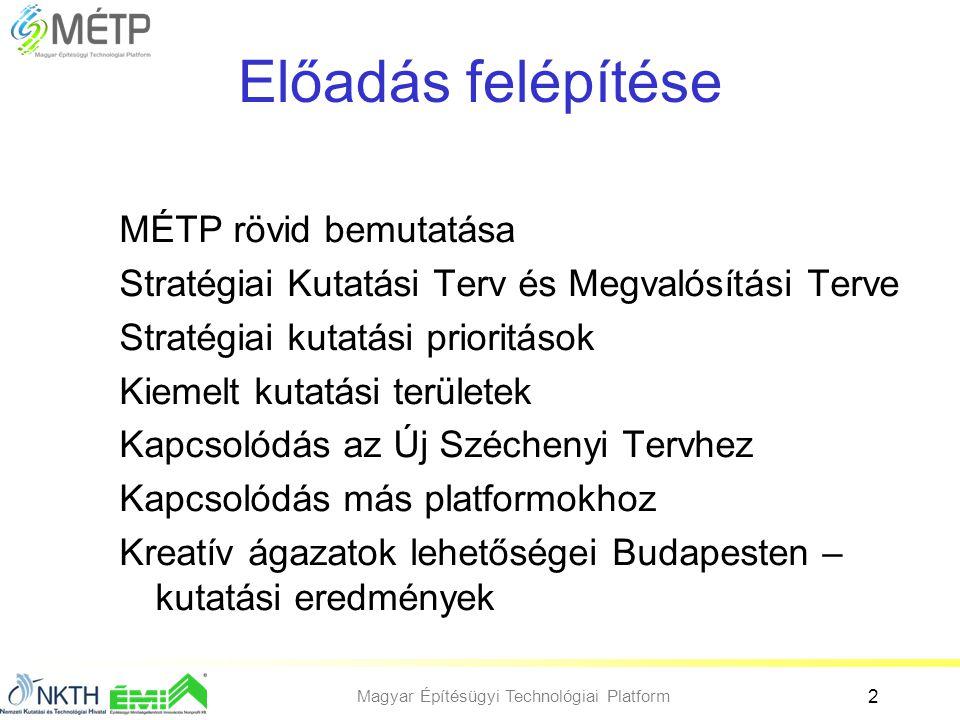 Magyar Építésügyi Technológiai Platform 2 Előadás felépítése MÉTP rövid bemutatása Stratégiai Kutatási Terv és Megvalósítási Terve Stratégiai kutatási