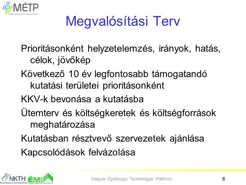 Magyar Építésügyi Technológiai Platform 6 Megvalósítási Terv Prioritásonként helyzetelemzés, irányok, hatás, célok, jövőkép Következő 10 év legfontosa