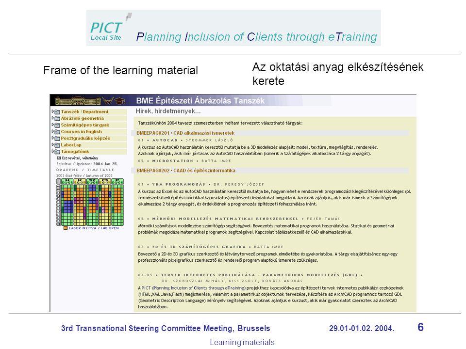 17 3rd Transnational Steering Committee Meeting, Brussels 29.01-01.02.