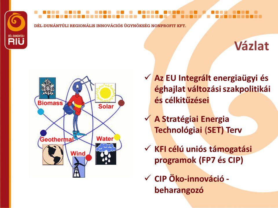 2007 – EU Integrált energiaügyi és éghajlat változási szakpolitika 3 fő pillér: – Valódi belső energia piac: valódi verseny, szabad energia szolgáltató választás és ellátásbiztonság – Az alacsony szénfelhasználású energetikai rendszerekre való áttérés felgyorsítása: Eu világvezető pozíció megőrzése megújuló energiák terén, 2020: 20%-os megújuló energia arány – Energiahatékonyság: energia felhasználás csökkentése, szigorúbb energia szabványok, épületek energiahatékonysága