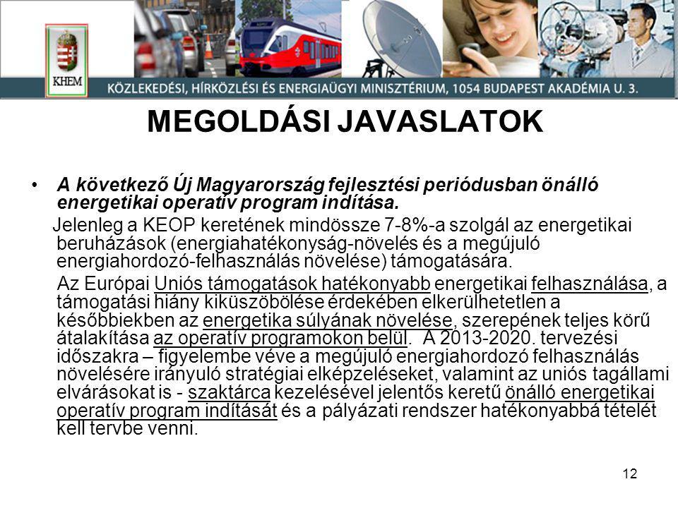12 MEGOLDÁSI JAVASLATOK •A következő Új Magyarország fejlesztési periódusban önálló energetikai operatív program indítása.