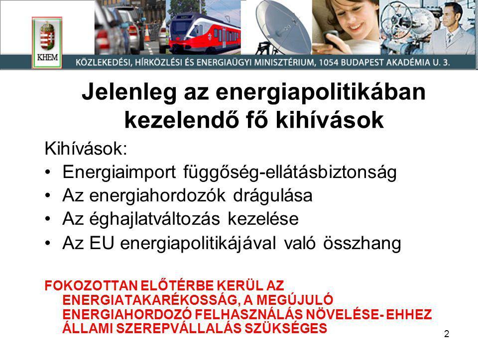 2 Jelenleg az energiapolitikában kezelendő fő kihívások Kihívások: •Energiaimport függőség-ellátásbiztonság •Az energiahordozók drágulása •Az éghajlatváltozás kezelése •Az EU energiapolitikájával való összhang FOKOZOTTAN ELŐTÉRBE KERÜL AZ ENERGIATAKARÉKOSSÁG, A MEGÚJULÓ ENERGIAHORDOZÓ FELHASZNÁLÁS NÖVELÉSE- EHHEZ ÁLLAMI SZEREPVÁLLALÁS SZÜKSÉGES