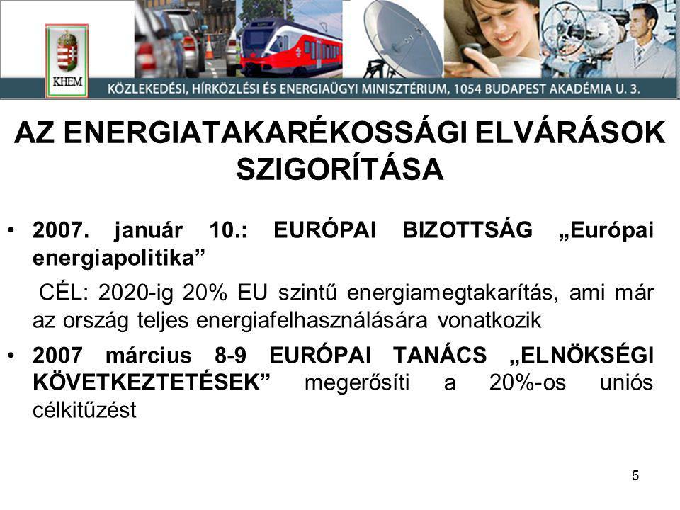 5 AZ ENERGIATAKARÉKOSSÁGI ELVÁRÁSOK SZIGORÍTÁSA •2007.