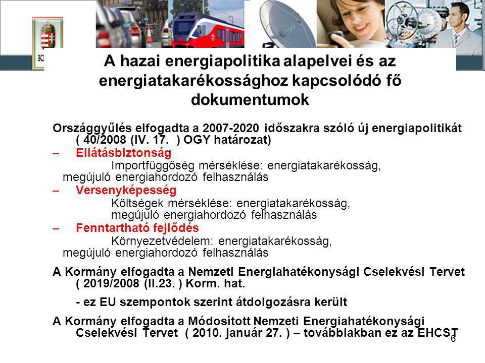 6 A hazai energiapolitika alapelvei és az energiatakarékossághoz kapcsolódó fő dokumentumok Országgyűlés elfogadta a 2007-2020 időszakra szóló új energiapolitikát ( 40/2008 (IV.