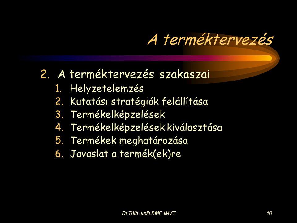 Dr.Tóth Judit BME IMVT10 A terméktervezés 2.A terméktervezés szakaszai 1.Helyzetelemzés 2.Kutatási stratégiák felállítása 3.Termékelképzelések 4.Termékelképzelések kiválasztása 5.Termékek meghatározása 6.Javaslat a termék(ek)re