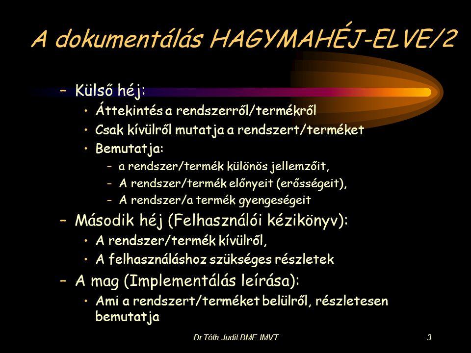 Dr.Tóth Judit BME IMVT3 A dokumentálás HAGYMAHÉJ-ELVE/2 –Külső héj: •Áttekintés a rendszerről/termékről •Csak kívülről mutatja a rendszert/terméket •Bemutatja: –a rendszer/termék különös jellemzőit, –A rendszer/termék előnyeit (erősségeit), –A rendszer/a termék gyengeségeit –Második héj (Felhasználói kézikönyv): •A rendszer/termék kívülről, •A felhasználáshoz szükséges részletek –A mag (Implementálás leírása): •Ami a rendszert/terméket belülről, részletesen bemutatja