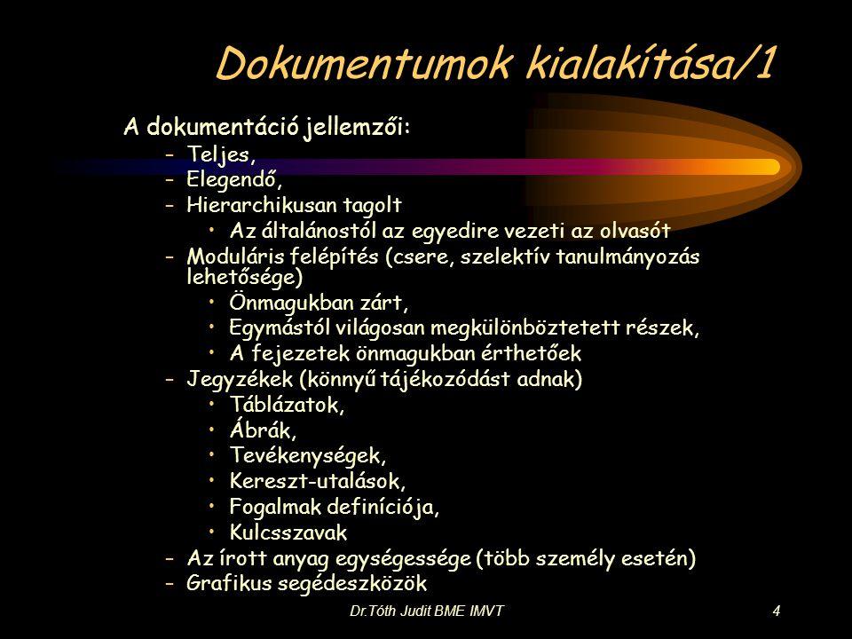 Dr.Tóth Judit BME IMVT4 Dokumentumok kialakítása/1 A dokumentáció jellemzői: –Teljes, –Elegendő, –Hierarchikusan tagolt •Az általánostól az egyedire v