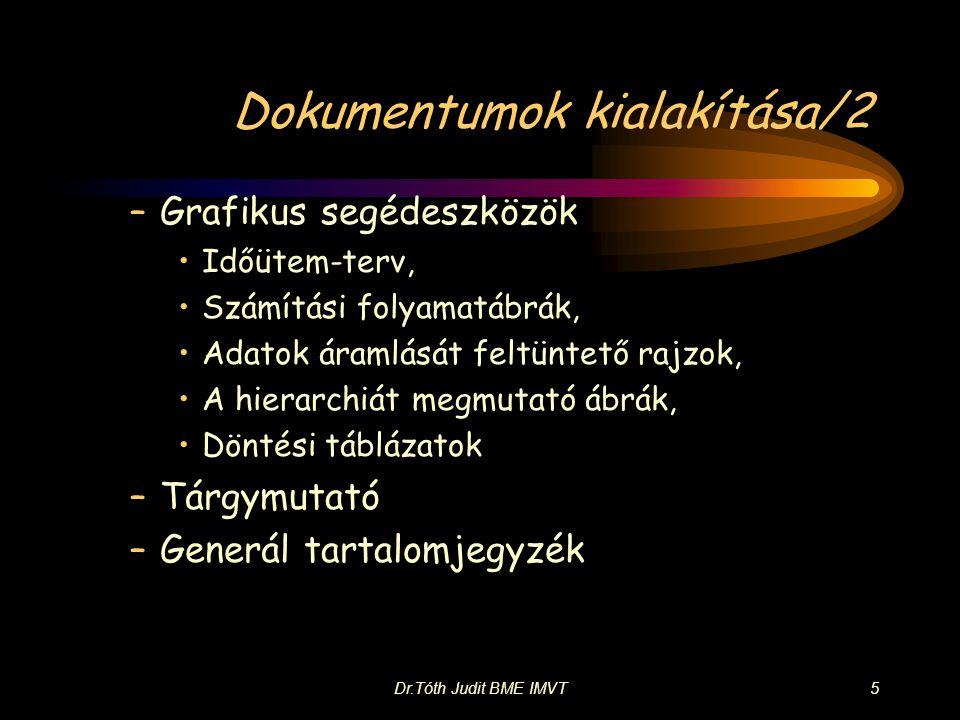 Dr.Tóth Judit BME IMVT5 Dokumentumok kialakítása/2 –Grafikus segédeszközök •Időütem-terv, •Számítási folyamatábrák, •Adatok áramlását feltüntető rajzo
