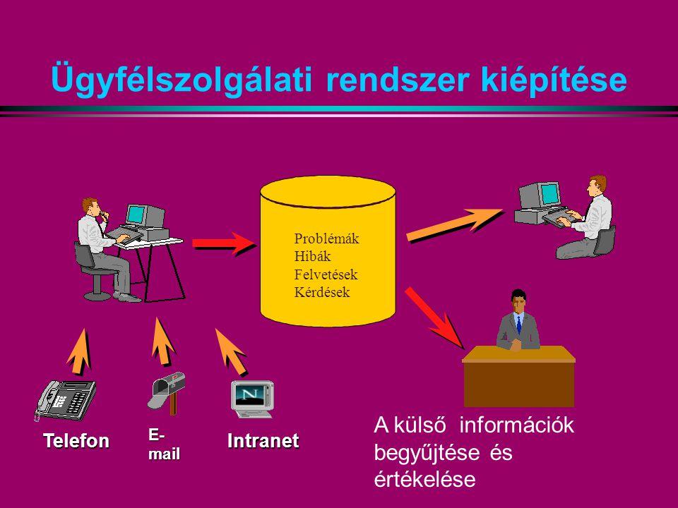Ügyfélszolgálati rendszer kiépítése Telefon E- mail Intranet Problémák Hibák Felvetések Kérdések A külső információk begyűjtése és értékelése