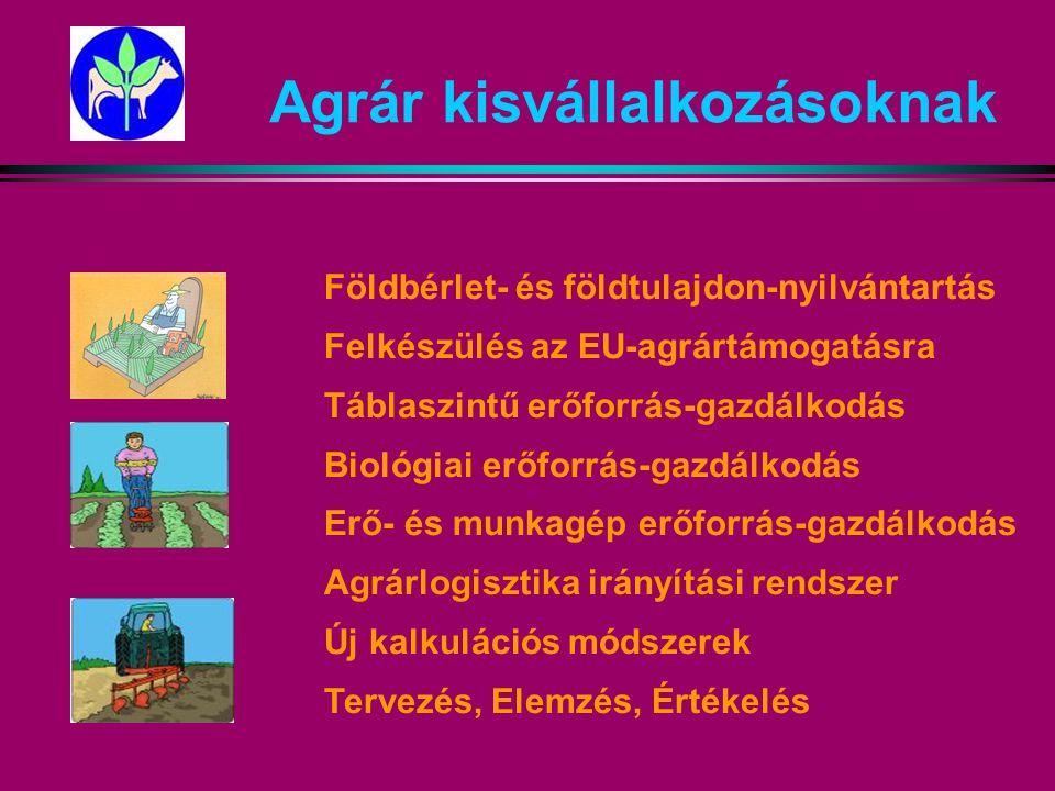 Agrár kisvállalkozásoknak Földbérlet- és földtulajdon-nyilvántartás Felkészülés az EU-agrártámogatásra Táblaszintű erőforrás-gazdálkodás Biológiai erőforrás-gazdálkodás Erő- és munkagép erőforrás-gazdálkodás Agrárlogisztika irányítási rendszer Új kalkulációs módszerek Tervezés, Elemzés, Értékelés