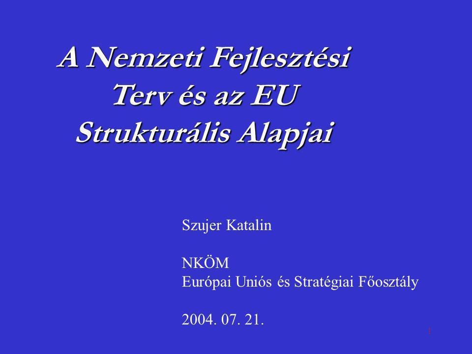 1 A Nemzeti Fejlesztési Terv és az EU Strukturális Alapjai Szujer Katalin NKÖM Európai Uniós és Stratégiai Főosztály 2004. 07. 21.