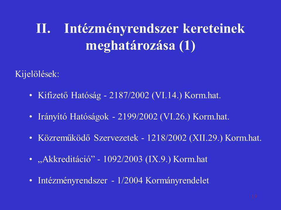 19 II.Intézményrendszer kereteinek meghatározása (1) Kijelölések: •Kifizető Hatóság - 2187/2002 (VI.14.) Korm.hat. •Irányító Hatóságok - 2199/2002 (VI