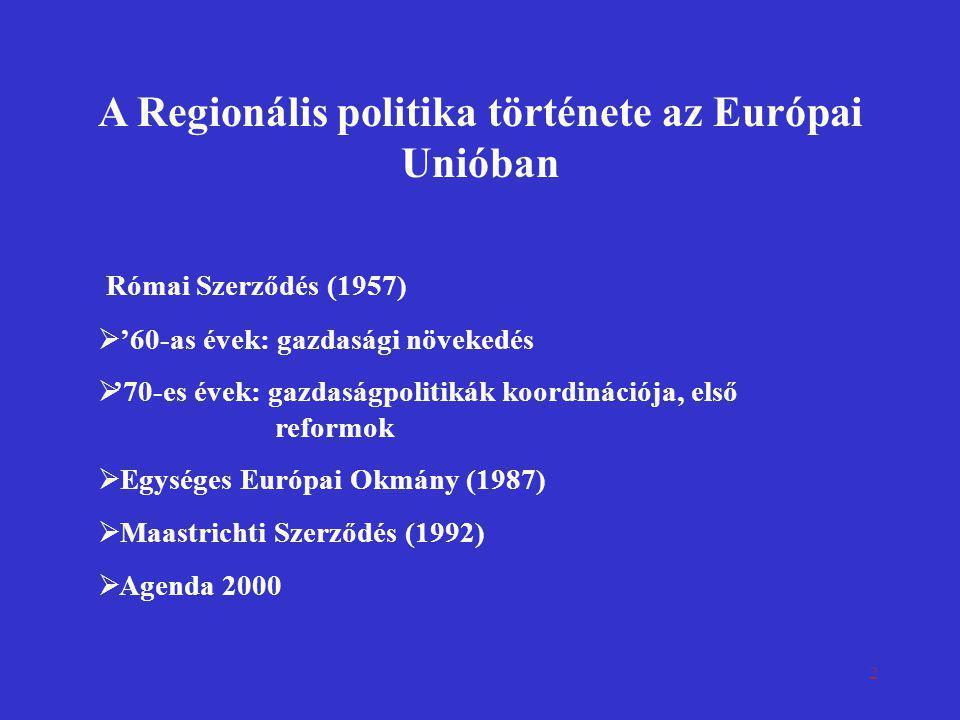 2 A Regionális politika története az Európai Unióban Római Szerződés (1957)  '60-as évek: gazdasági növekedés  '70-es évek: gazdaságpolitikák koordi