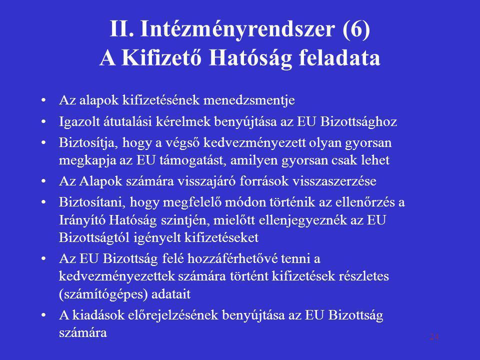24 II. Intézményrendszer (6) A Kifizető Hatóság feladata •Az alapok kifizetésének menedzsmentje •Igazolt átutalási kérelmek benyújtása az EU Bizottság