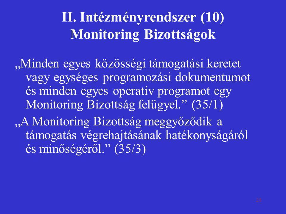 """28 II. Intézményrendszer (10) Monitoring Bizottságok """"Minden egyes közösségi támogatási keretet vagy egységes programozási dokumentumot és minden egye"""
