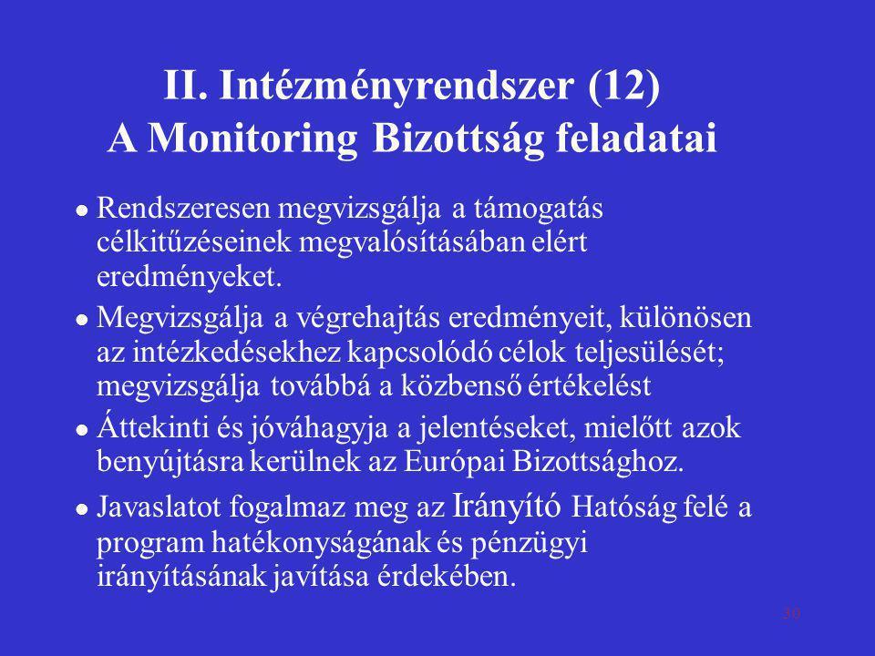 30 II. Intézményrendszer (12) A Monitoring Bizottság feladatai l Rendszeresen megvizsgálja a támogatás célkitűzéseinek megvalósításában elért eredmény