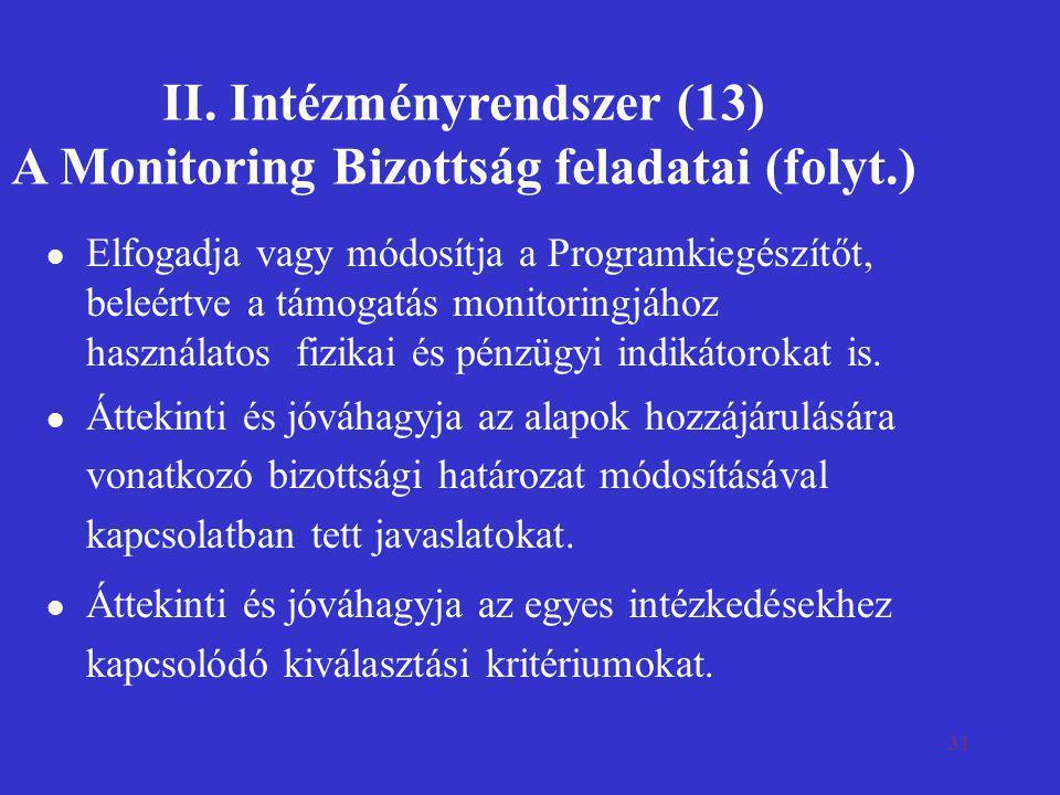 31 II. Intézményrendszer (13) A Monitoring Bizottság feladatai (folyt.) l Elfogadja vagy módosítja a Programkiegészítőt, beleértve a támogatás monitor