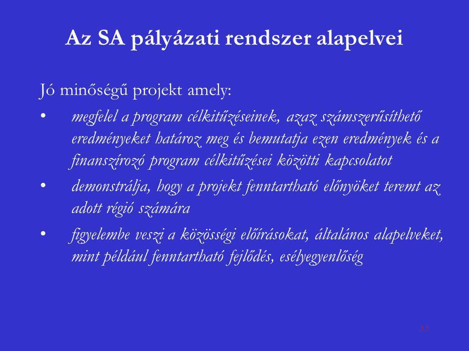 33 Az SA pályázati rendszer alapelvei Jó minőségű projekt amely: •megfelel a program célkitűzéseinek, azaz számszerűsíthető eredményeket határoz meg é