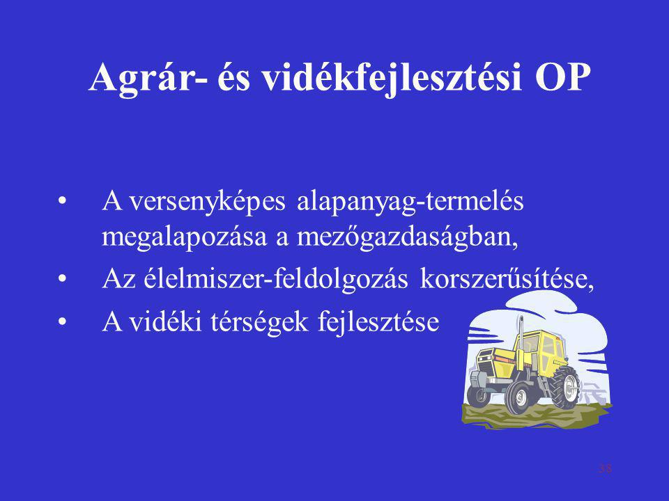 38 Agrár- és vidékfejlesztési OP •A versenyképes alapanyag-termelés megalapozása a mezőgazdaságban, •Az élelmiszer-feldolgozás korszerűsítése, •A vidé