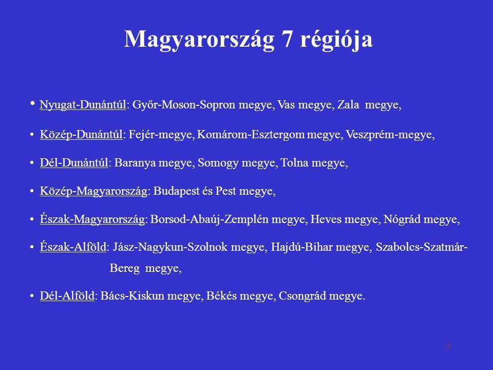 8 Magyarország 7 régiója • Nyugat-Dunántúl: Győr-Moson-Sopron megye, Vas megye, Zala megye, • Közép-Dunántúl: Fejér-megye, Komárom-Esztergom megye, Ve