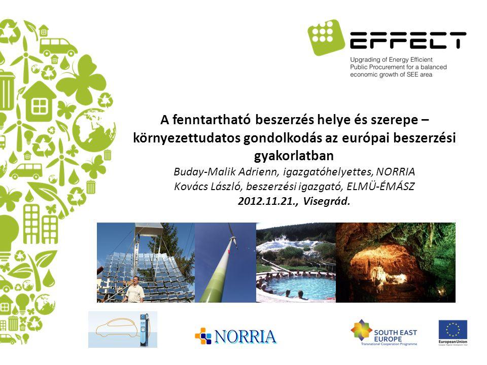 A fenntartható beszerzés helye és szerepe – környezettudatos gondolkodás az európai beszerzési gyakorlatban Buday-Malik Adrienn, igazgatóhelyettes, NO