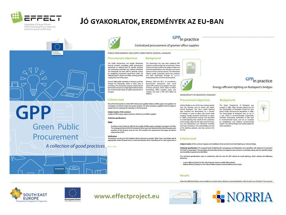 J Ó GYAKORLATOK, EREDMÉNYEK AZ EU - BAN www.effectproject.eu