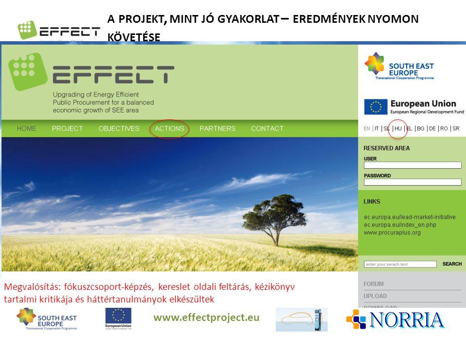 A PROJEKT, MINT JÓ GYAKORLAT – EREDMÉNYEK NYOMON KÖVETÉSE www.effectproject.eu Megvalósítás: fókuszcsoport-képzés, kereslet oldali feltárás, kézikönyv