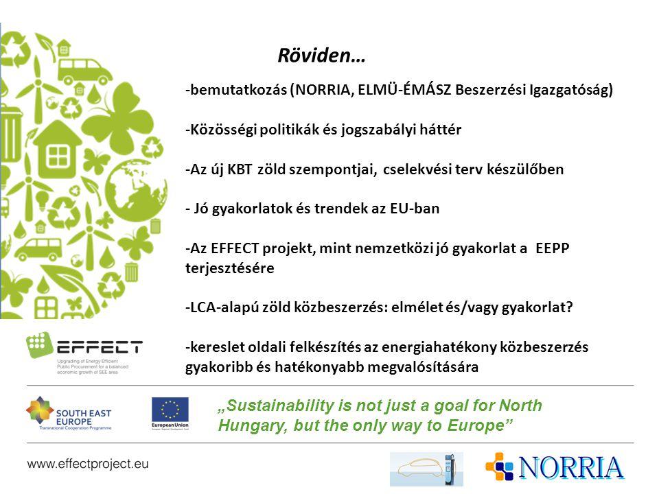 Röviden… -bemutatkozás (NORRIA, ELMÜ-ÉMÁSZ Beszerzési Igazgatóság) -Közösségi politikák és jogszabályi háttér -Az új KBT zöld szempontjai, cselekvési