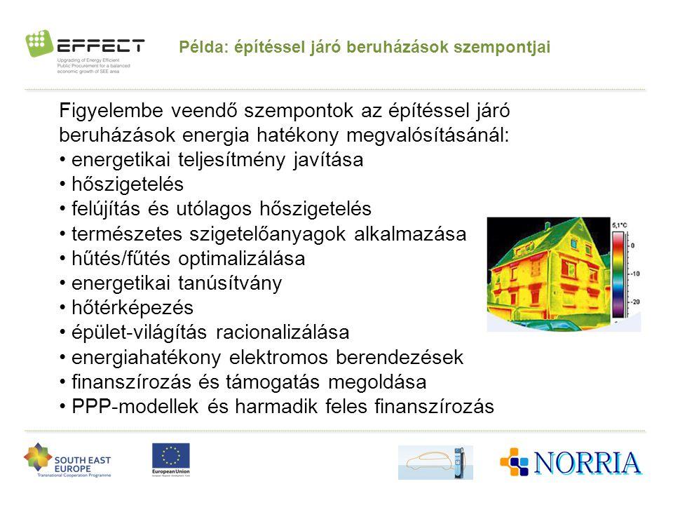 Példa: építéssel járó beruházások szempontjai Figyelembe veendő szempontok az építéssel járó beruházások energia hatékony megvalósításánál: • energeti