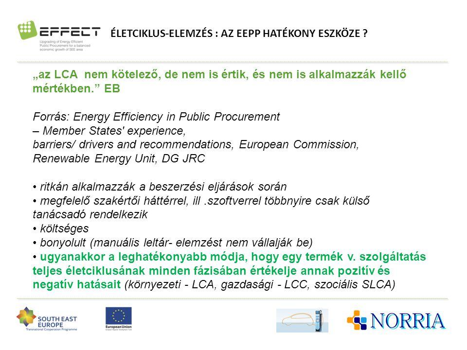 """ÉLETCIKLUS-ELEMZÉS : AZ EEPP HATÉKONY ESZKÖZE ? """"az LCA nem kötelező, de nem is értik, és nem is alkalmazzák kellő mértékben."""" EB Forrás: Energy Effic"""